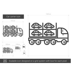 car carrier line icon vector image