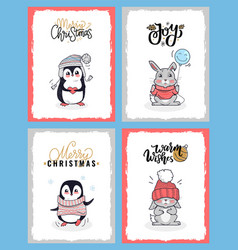 cartoon animals in warm cloth christmas cards vector image