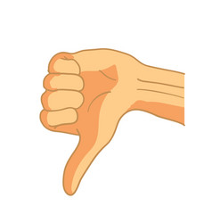 Cartoon hand in thumbs down gesture on white vector