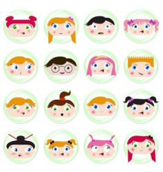 cartoon kids face vector image