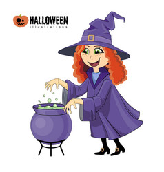 cartoon of halloween witch with boiling cauldron vector image