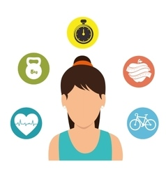 Character girl fitness gym icons vector