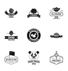 China land logo set simple style vector