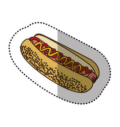 color contour hot dog fast food icon vector image