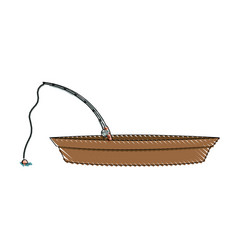 Colored pencil silhouette of wooden fishing boat vector