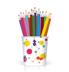 Colored pencils in Plastic container vector image