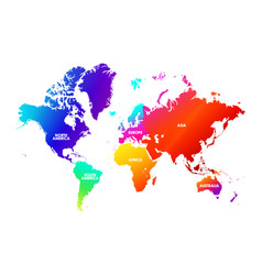 Colorfulness saturation world map each continent vector