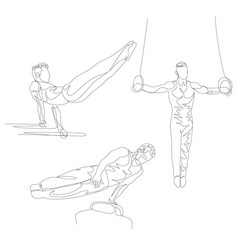 continuous one line gymnast doing various exercise vector image