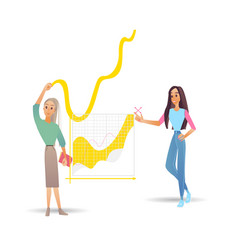 data analysis with two girls vector image