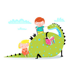 dragon reading book to boy and girl vector image