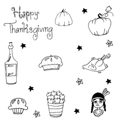 Element Thanksgiving food in doodle vector