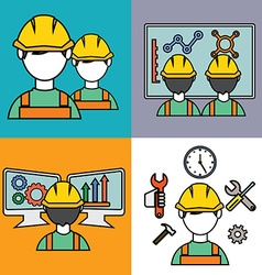 Engineer construction manufacturing workers set vector image