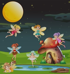 Fairies flying over the house at night vector image