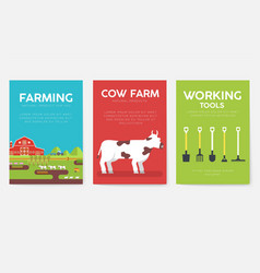 farm information cards set nature template of vector image