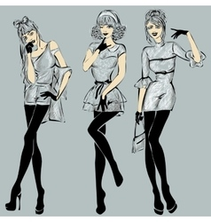 Fashion models in sketch style fall winter vector image