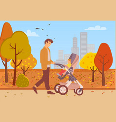 father walking with kid in buggy in autumn park vector image
