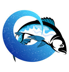 fish on a blue wave design vector image