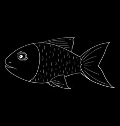 Fish outline sketch on black background vector