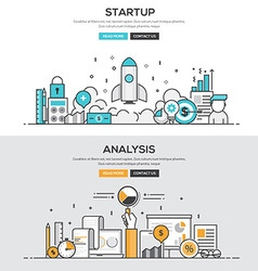 Flat design line concept Start up Analysis vector