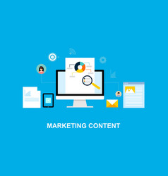 flat design marketing system content vector image