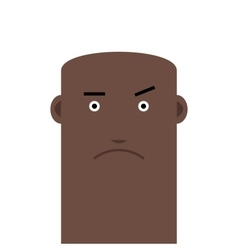 Flat face bald angry man avatar character vector
