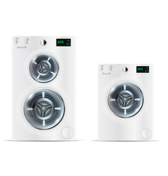 Front load white washing machine and front load vector