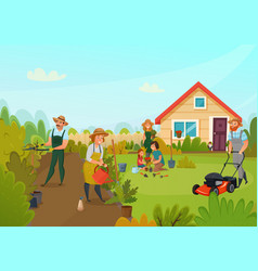 gardening cartoon composition vector image