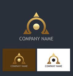 Gold omega triangle company logo vector