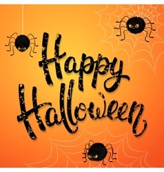 Halloween greeting card with angry spiders web vector image