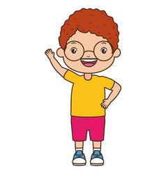 happy boy waving hand vector image