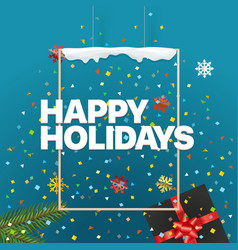 happy holidays concept logo on the wall vector image