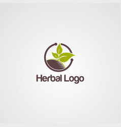 herbal logo with brown ground and leaf element vector image