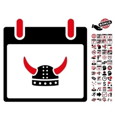 Horned Helmet Calendar Day Flat Icon With vector
