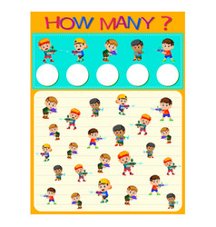 how many worksheet with many kids vector image