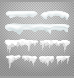 Icicles and snowcap elements on transparent vector