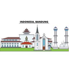 Indonesia bandung city skyline architecture vector