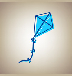 Kite sign sky blue icon with defected vector