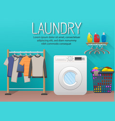 laundry room with washing machine drying clothes vector image