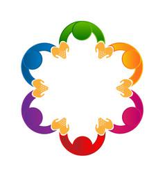 Logo social media teamwork holding hands vector
