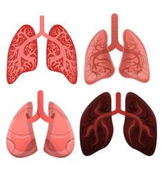 Lung icon set cartoon style vector