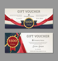 Luxury gift voucher with gold and red details vector