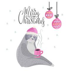 Merry christmas card with cute cartoon sloth vector