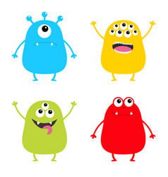 Monster set cute cartoon colorful scary character vector