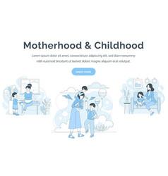 Motherhood and childhood landing page template vector