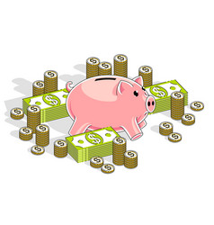 piggy bank with dollar stacks and cent coins vector image