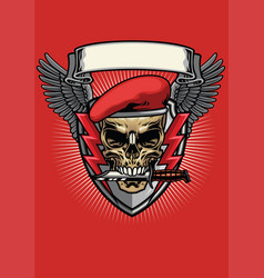 Red military beret skull with knife design vector