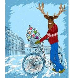 Reindeer Cartoon Sketch on a Bike vector