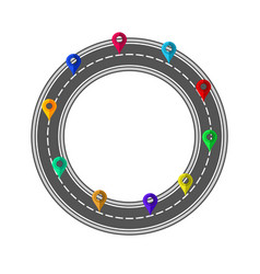 road and highway circle with markers for city map vector image
