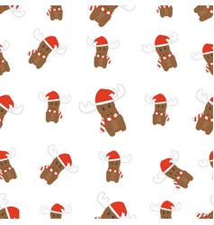 seamless christmas deer pattern vector image