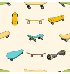 Seamless color pattern with skateboards vector